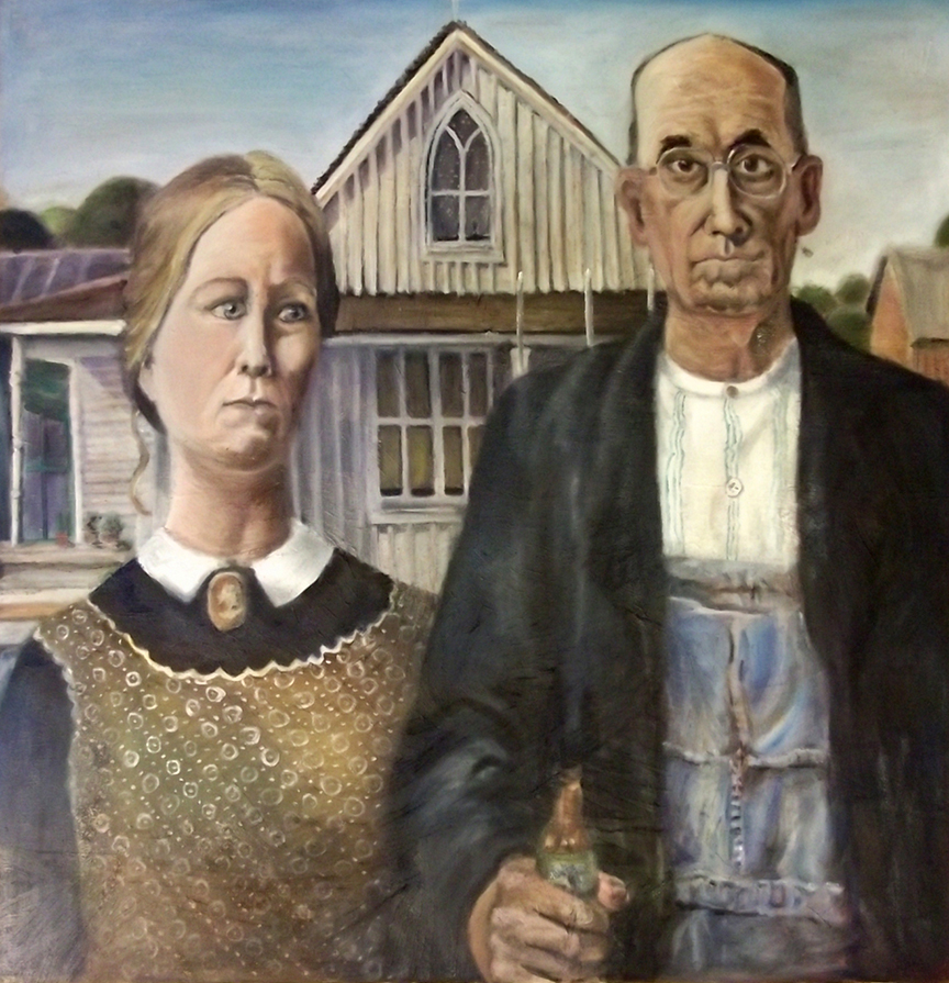 This is a satirical homage to a Grant Wood painting, <i>American Gothic</i>. This is acrylic on canvas, 30x30 inches created in 2012. It is currently on display in Domestic restaurant in Shepherdstown, WV and was created with the farm-to-table restaurant in mind. In this version, <i>American Gothic IV: the Reaping</i>, I wanted to play with gender roles and tradition. The idea of the restaurant was to reinvision American classics.