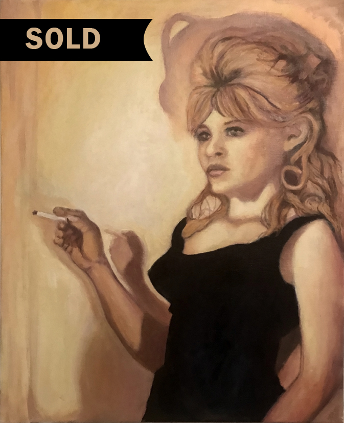 <i>Smoker no. 1</i>, oil on canvas 18x24, 2018. A new series, in progress, of pretty girls who indulge in cigarettes. While this was once considered classy or affluent as recently as 20 years ago, it now ellicits a much different response from the viewer.
